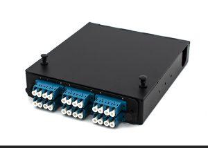 DIN rail compatible wall mount fiber box one-panel LC 24 core